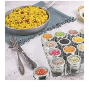 Dining - NIB!16 PIECE MAGNETIC SPICE CONTAINERS WITH TRAY